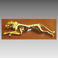 Large Sleek Vintage Panther Gold Tone Brooch with Rhinestone Collar
