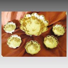 Beautiful Antique Nippon Porcelain Ornate Dragon Nut/Berry Bowl Set