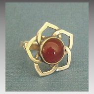 Pretty Vintage Carnelian Sterling Silver Flower Ring- Size 5 1/2