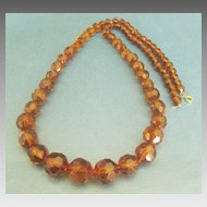 Lovely Vintage Faceted Graduated Root Beer Lucite Bead Necklace-  28 Inches!