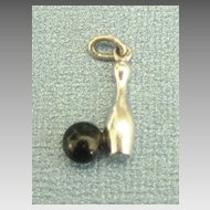 Wonderful Vintage Sterling Silver Bowling Pin with Ball Charm