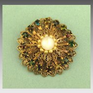 Lovely Vintage Deep Jewel Tone Rhinestone Filigree Brooch with Faux Pearls