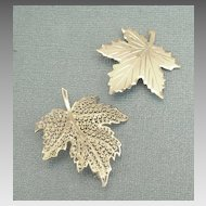 Two Lovely Sterling Silver Leaf Brooches/Pins- Germany