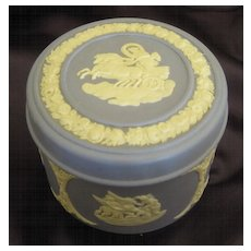 """Lovely Vintage Wedgwood Jasper Ware """"Aurora in Her Chariot"""" Covered Box- 1970's"""