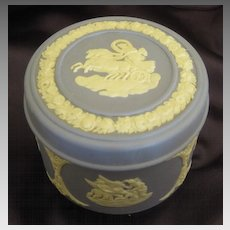 "Lovely Vintage Wedgwood Jasper Ware ""Aurora in Her Chariot"" Covered Box- 1970's"