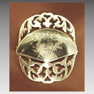 Beautiful Vintage Siam Sterling Silver Fan with Dancers Brooch