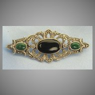 Lovely Vintage Malachite, Onyx and Sterling Silver Brooch with Marcasite