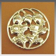 Lovely Large Vintage Sterling Silver Acorn Brooch