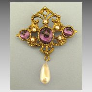 Elegant Vintage Amethyst Glass Cabochon and Simulated Pearl Dangle Brooch