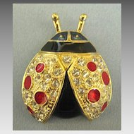 Glittering Rhinestone Enamel Lady Bug Pin