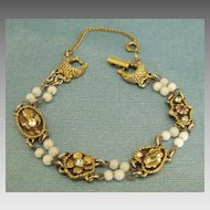 Feminine Vintage Double Strand Bracelet with Decorative Rhinestone Links
