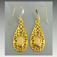 Pretty Opal Pierced Dangle Yellow Gold Tone Earrings