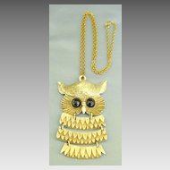 Huge Chunky Vintage Stylized Owl Segmented Pendant on Chain Necklace
