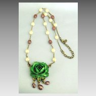Lovely Lucite and Faux Peal Dimensional Green Rose Monet Necklace.