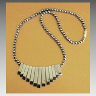 Lovely Vintage Natural Hematite Art Deco Design Necklace