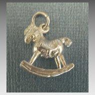 Adorable Vintage Sterling Silver Rocking Horse Charm