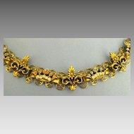 Vintage Rhinestone and Faux Pearl Crown and Fleur de Lis Yellow Gold Tone Link Bracelet