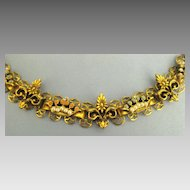 Vintage Rhinestone and Faux Pearl Crown and Fleur de Lis Yellow Gold Tone Link Bracelet
