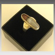 Attractive Vintage Landscape Agate Sterling Silver Ring- Size 5