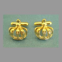 Vintage Yellow Gold Tone Royal Crown Cufflinks