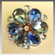 Sparkling Vintage Rhinestone Flower Shaped Brooch- West Germany