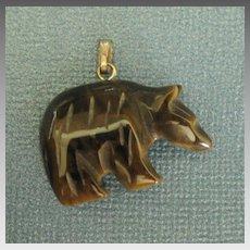 Vintage Carved Tiger's Eye Mineral Bear Pendant or Charm