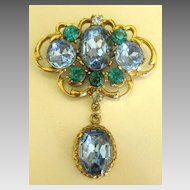 Sparkling Vintage Blue and Teal Rhinestone Brooch with Dangle