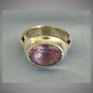Fabulous Amethyst Sterling Silver Designer Ring- Size 5 3/4