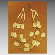 Lovely Vintage Cream Tone Lucite Triple Strand Rectangular Bead Necklace
