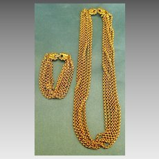 Fabulous Signed Vintage Multiple Chain Necklace and Bracelet Demi Parure