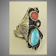 Wonderful Vintage Native American Turquoise and Coral Sterling Silver Ring