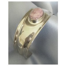 "Beautiful Sterling Silver Cuff Bracelet with Pink ""Bacon Edge"" Rhodocrosite"