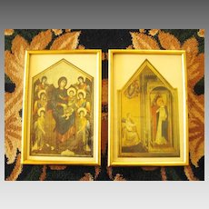 Beautiful Vintage Gold Gilt Framed  Italian Religious Prints