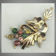 Spectacular 1940's Sterling Silver Jewel Tones Rhinestone Floral Spray Brooch