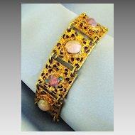 Ornate Vintage Opalescent Glass Filigree Link Bracelet