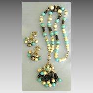 Flirty Vintage Beaded Tassel Demi Parure- Necklace and Dangle  Earrings