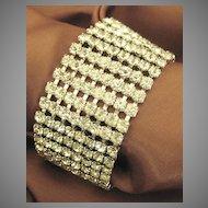 Elegant Sparkling Wide Vintage Rhinestone Bracelet