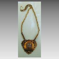 Lovely Vintage Enamel on Brass Tone Fleur-de-Lis Shield Necklace