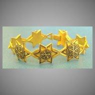 Lovely Vintage Enamel Damascene Star Link Bracelet