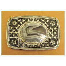 Fabulous Bold Vintage Prong Set Agate Belt Buckle