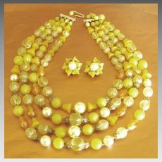 Vintage Triple Strand Lucite Necklace and Earrings- West Germany