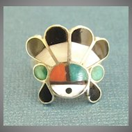 Charming Vintage Zuni Inlaid Sun God Sterling Ring- Size 5 3/4