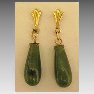 Lovely Vintage 14K Yellow Gold Jade Drop Pierced Earrings
