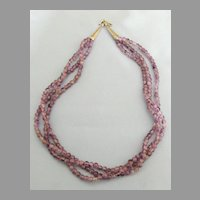 Lovely Vintage Triple Strand Amethyst Bead Sterling Silver Necklace