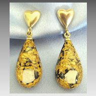Pretty Vintage 12K Gold Fill Heart Earrings with Opal & Gold Fluss Embedded Dangles