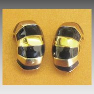 Vintage Chunky St. John Black and Gold Tone Earrings