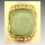 Bold Glittering Glass Cabochon Rhinestone Cocktail Ring- Size 7