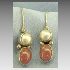 Lovely Sterling Silver Pink Quartz and White Glass Pearl Pierced Earrings