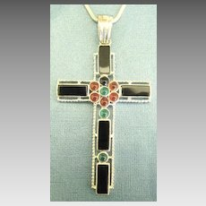 Bold Chunky Sterling Silver Cross with Onyx, Carnelian and Chrysophase