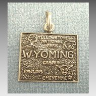 Vintage Sterling Silver Wyoming State Charm